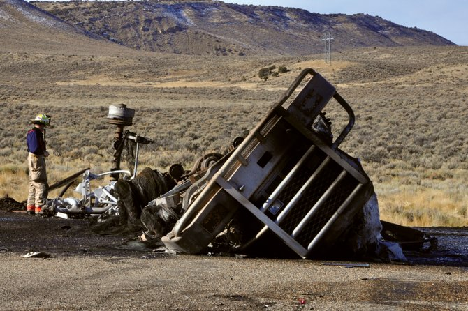 Wreckage from a tractor-trailer crash littered the road at the intersection of Moffat County roads 51 and 32 on Thursday morning near Colowyo Mine. The driver, an adult male, died on the scene.