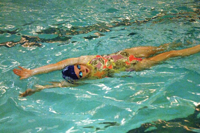 Eryn Leonard, a Moffat County High School junior, swims during practice Nov. 14 at MCHS. Leonard, who competed in last year's 4A state meet, said she wants to see improved times and places this year.
