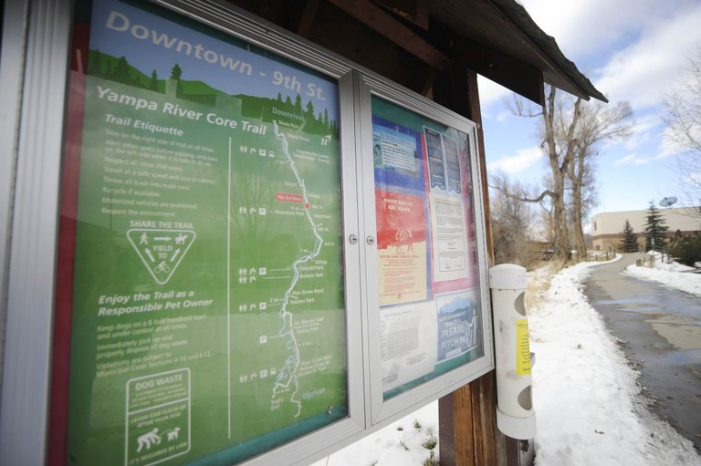 New signs are being put in existing kiosks as well as new locations along the Yampa River Core Trail to encourage alternative modes of transportation.