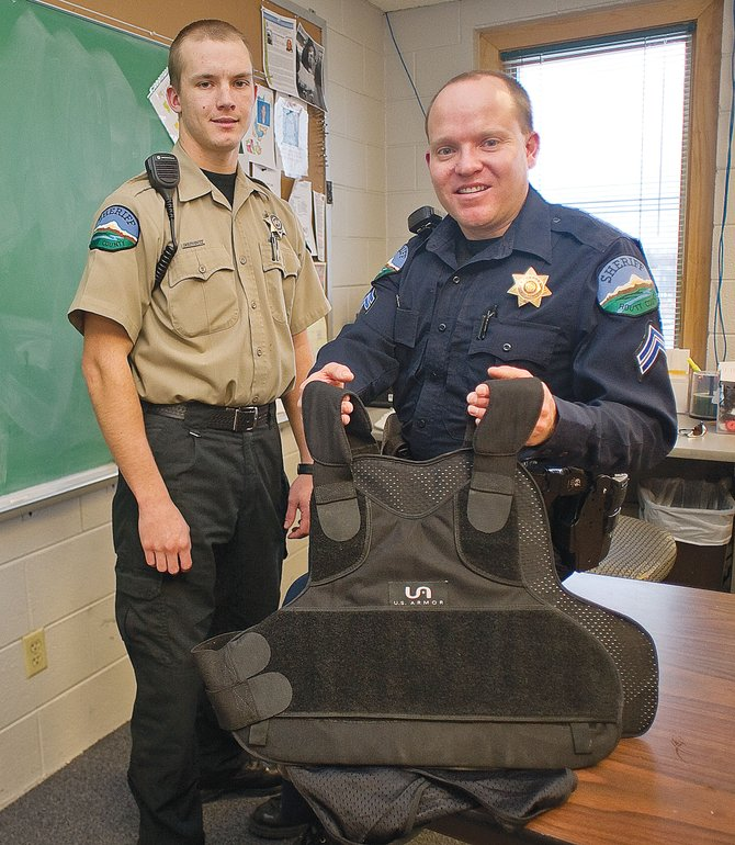 The Routt County Sheriff's Office depends on vests such as this to keep officers like detention deputy Bryan Wojtkicwicz and patrol corporal Ryan Adrian safe on the job. The Routt County Sheriff's Office is hoping to outfit its detention deputies and update the vests patrol officers wear with the help of a federal grant that will cover 50 percent of the $12,500 out of budget cost.