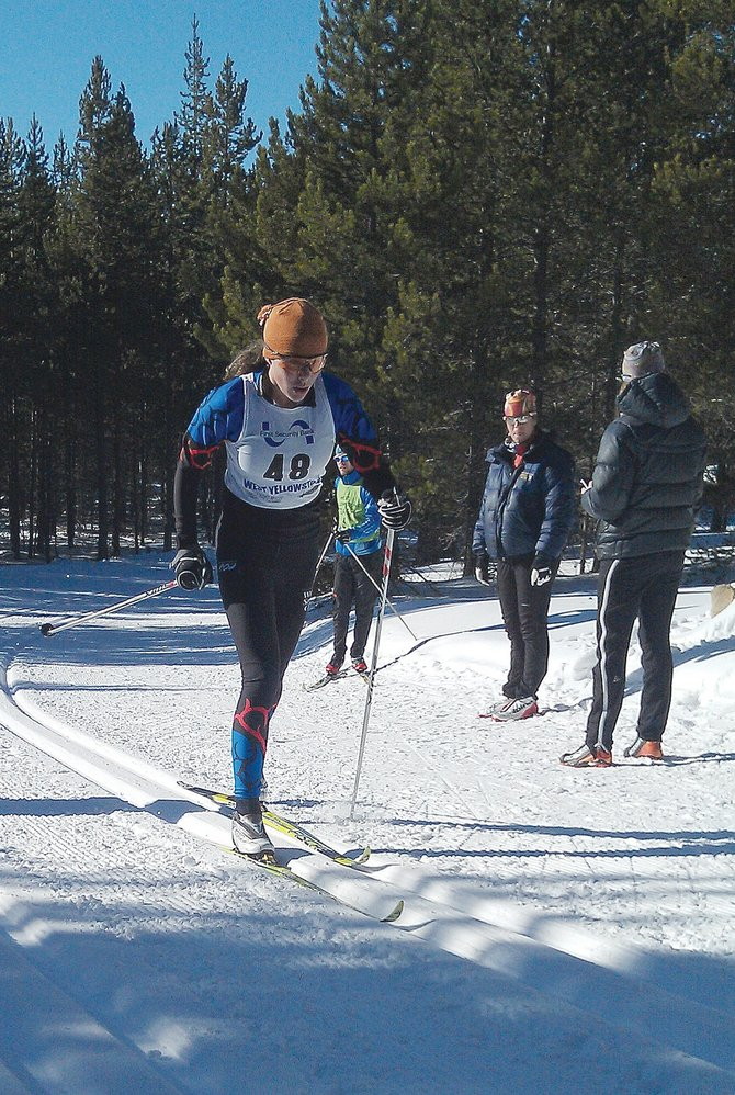 Katie Brodie, of the Steamboat Springs Winter Sports Club, competes in a race in the West Yellowstone Ski Festival last week.