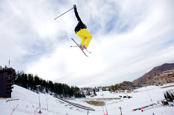 Freestyle skier Stephen Wilson takes flight off a jump Wednesday at Howelsen Hill while training with the Steamboat Springs Winter Sports Club. The historic downtown ski area, which has been open to the members of the Winter Sports Club for training, will open at 10 a.m. Saturday to the public with a free ski day.