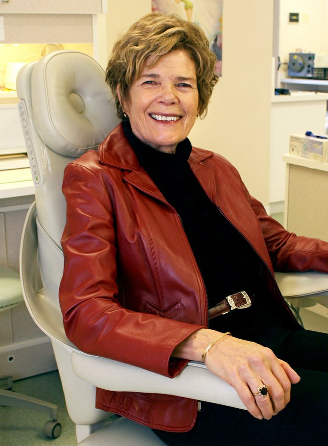 Janet Sheridan, the 2011 Georgina McAnally Volunteer of the Year award recipient, sits Thursday in a dentist chair at the Northwest Colorado Dental Coalition. Sheridan served on the organization's board for six years and currently sits on the board for the Northwest Colorado Visiting Nurse Association. She has been volunteering in the area since she came to Craig in the late 1990s.