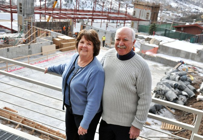 Ed and Jayne Hill stand above the Colorado Mountain College's Alpine Campus auditorium wing that will be named after the couple once it is completed next year.
