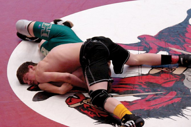 The Moffat County High School varsity wrestling team went 3-1 at the Union Duals on Friday at Union High School in Roosevelt, Utah. Senior Jake Blevins, pictured above, and freshman Ashlee Griffiths finished the tournament with 4-0 records.