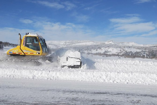 Colorado Department of Transportation crews have begun using a snowcat along stretches of Rabbit Ears Pass to redistribute dense snow along stretches of U.S. Highway 40 that are difficult to clear with plows and truck-mounted snowblowers.