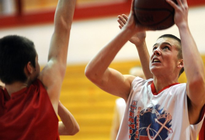 Steamboat's Jake Miller puts up a shot Wednesday as the Sailors practiced. The 6-foot-2 senior forward has proved invaluable for the Sailors so far this season.