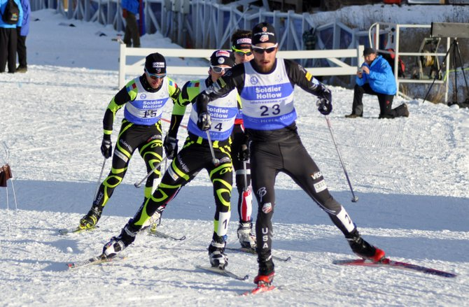 Steamboat Springs skier Taylor Fletcher leads a pack of competitors in a Nordic combined event Tuesday in Park City, Utah. Fletcher finished second in that event, part of a four-podium week for the member of the U.S. Ski Team's B Team.