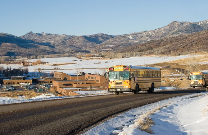 School buses leave the Strawberry Park Elementary School and Steamboat Springs Middle School campuses Thursday afternoon. Routt County school districts are among 142 rural Colorado districts that the Rural Education Council was formed to assist.