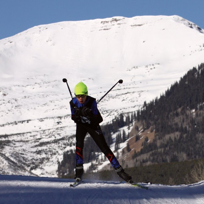 Steamboat Springs Winter Sports Club skier Sven Tate races during the weekend in Crested Butte at the Rocky Mountain Nordic Junior National Qualifying event. Sven finished first in the J4 skate and classic races.