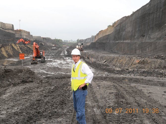 MWH Global's newly appointed president and CEO, Alan Krause, of Steamboat Springs, visits the construction site of new locks on the Atlantic side of the Panama Canal in September.