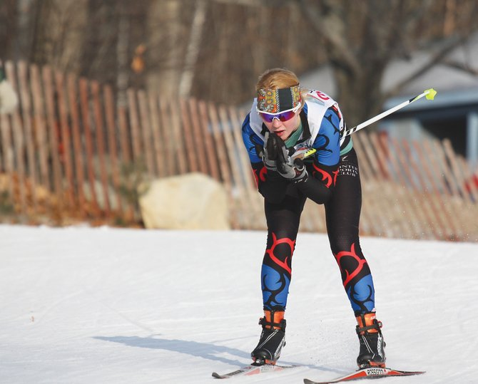 Emily Hannah, 17, of the Steamboat Springs Winter Sports Club, dashes to a 10th-place finish in the freestyle sprint event Tuesday, kicking off the 2012 U.S. Cross-Country Skiing National Championships in Rumford, Maine. Hannah was competing in a field of 152 women that included U.S. Ski Team members and many of the best collegians in the sport.