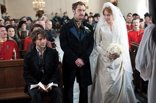 "Detective Sherlock Holmes (Robert Downey Jr.) looks on in horror as the wedding of his partner John Watson (Jude Law) begins. ""Sherlock Holmes: A Game of Shadows"" picks up where the 2009 hit left off as Holmes encounters his greatest foe, Prof. Moriarty (Jared Harris)."