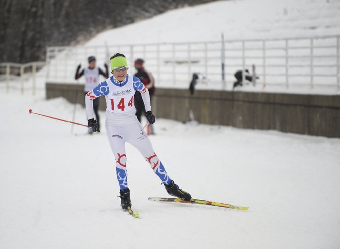 Jake Barker competes Saturday at Howelsen Hill. The Steamboat Springs High School Nordic team got its season started with an event at Howelsen Hill on Saturday.