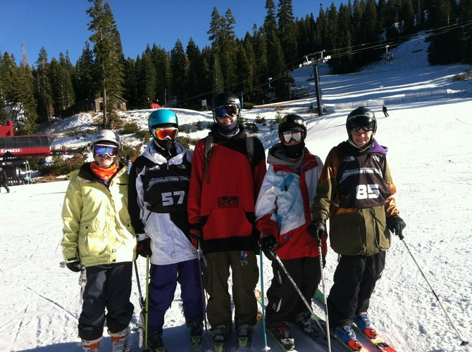Gracey Whelihan, from left, Lennon Vaughan, Penn Lukens, Jesse Pugh and Jake Sear take a break from competing in the U.S. Revolution Tour at Northstar Ski Resort in Lake Tahoe, Calif.