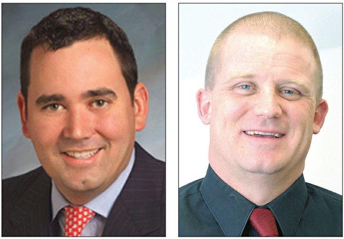 Colorado Treasurer Walker Stapleton (left) and Moffat County GOP Chairman KC Hume.