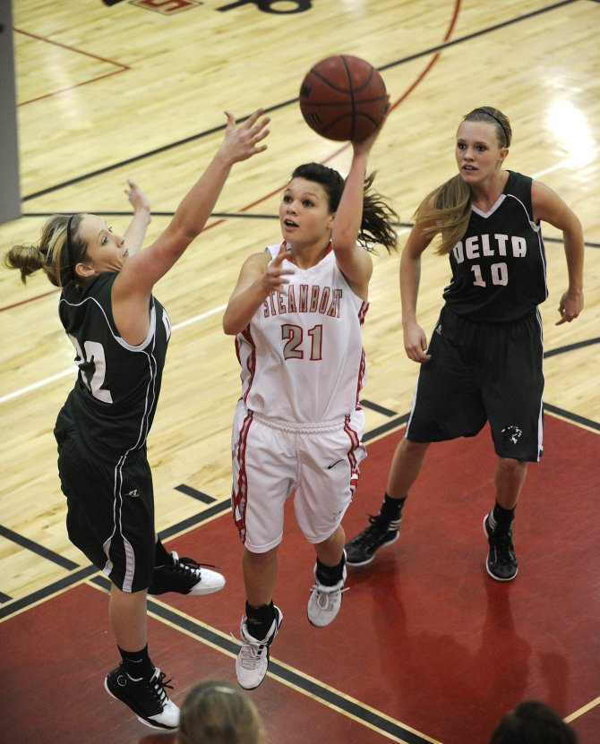 Steamboat Springs High School junior Megan Stabile puts up a shot during Saturday&#39;s game against Delta High School.