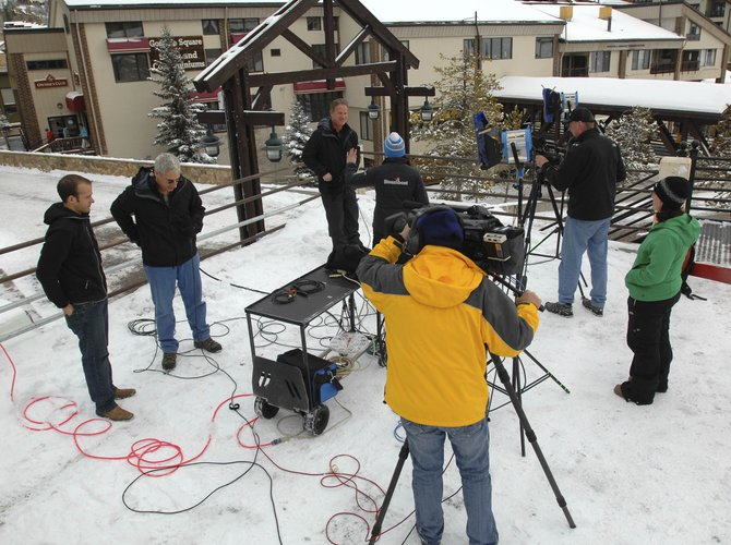 Two live, remote broadcasts are shot this week during the 23rd annual Steamboat Weather Summit. At left, Joel Gratz is being interviewed by Joe Murgo, chief meteorologist for WTAJ television in central Pennsylvania. At right is Steve Weagle, a meteorologist from WPTV in Florida.