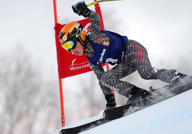 Steamboat Springs skier Anders Brockway cuts down See Me at Steamboat Ski Area on Sunday during a J4 Super G race.
