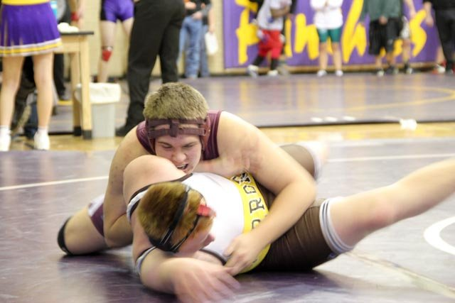 Soroco High School's Cody Constine wrestles against Palmer's Logan White at a Saturday tournament in Leadville.