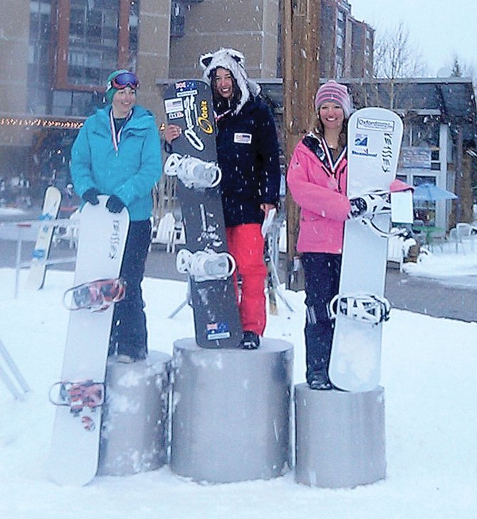 Steamboat Springs Winter Sports Club member Belle Brockhoff, center, won the women's snowboard cross at Holeshot NorAm Tour in Copper Mountain on Saturday. Teammates Jenna Feldman, left, finished second and Rosie Mancari placed third.