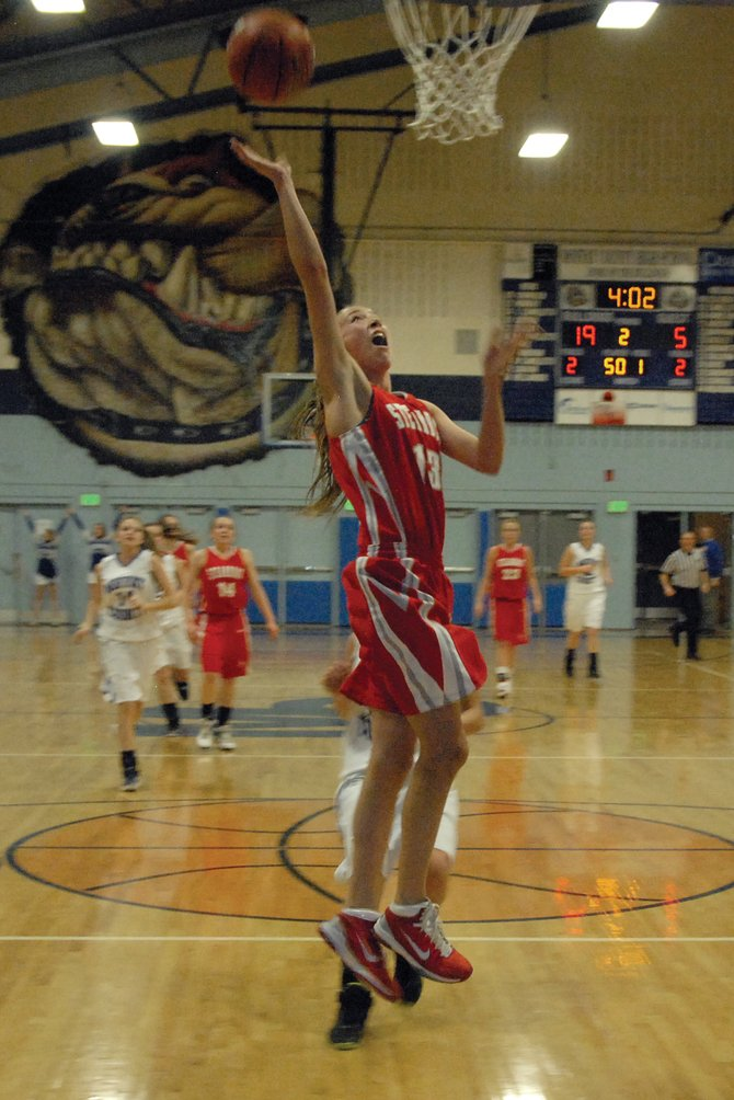 Steamboat senior Sydney Bauknecht elevates for a layup Tuesday against Moffat County High School at MCHS. The Sailors struggled offensively in the first half in a 55-31 loss to the Bulldogs.