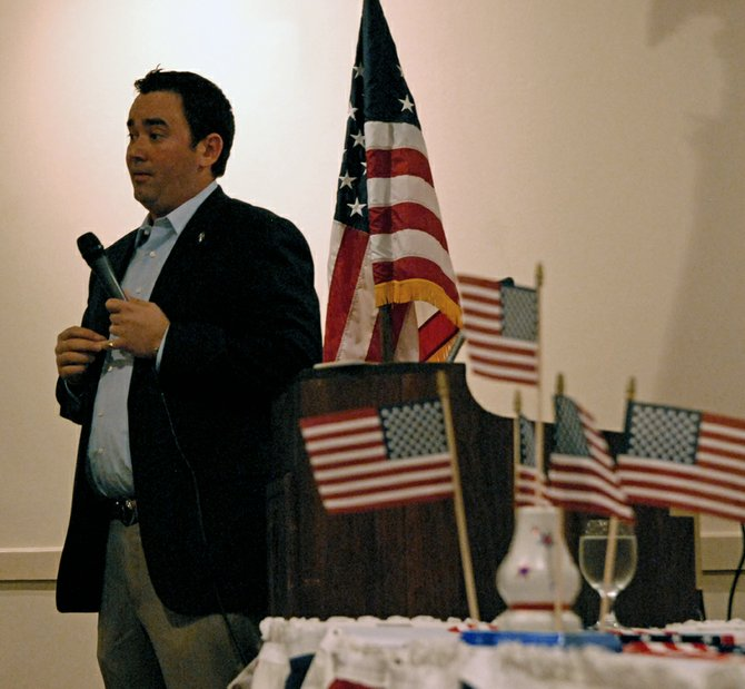 Colorado Treasurer Walker Stapleton was the featured speaker during Saturday night's Moffat County Republican Party Lincoln Day Dinner, a fundraiser at the Holiday Inn of Craig. Stapleton discussed looming Colorado budget problems caused by automatic spending ratchets for education, Medicaid and state employee pension entitlements.