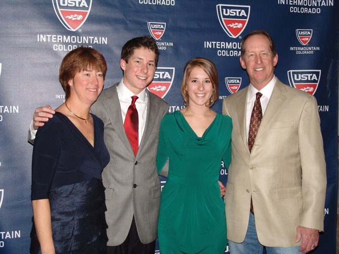 Stacy, from left, Jamey, Kylee and Jim Swiggart were chosen as the United States Tennis Association's Colorado tennis family of the year, receiving the Carter and Lena Elliott Family Award on Friday at the Colorado Tennis Hall of Fame ceremony in Denver.