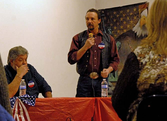 Rick Barnes, a candidate for Moffat County Commission's District 2 seat, outlines his platform for election Thursday night during a candidate forum hosted by the Bears Ears Tea Party Patriots at The Center of Craig, 601 Yampa Ave. Barnes believes fostering county and city relationships should extend beyond the limits of Craig to include Hamilton, Maybell and Dinosaur.