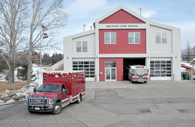 Fire trucks leave the Mountain Fire Station on Friday morning. Steamboat Springs City Council will discuss several fire-related issues when it meets Tuesday.