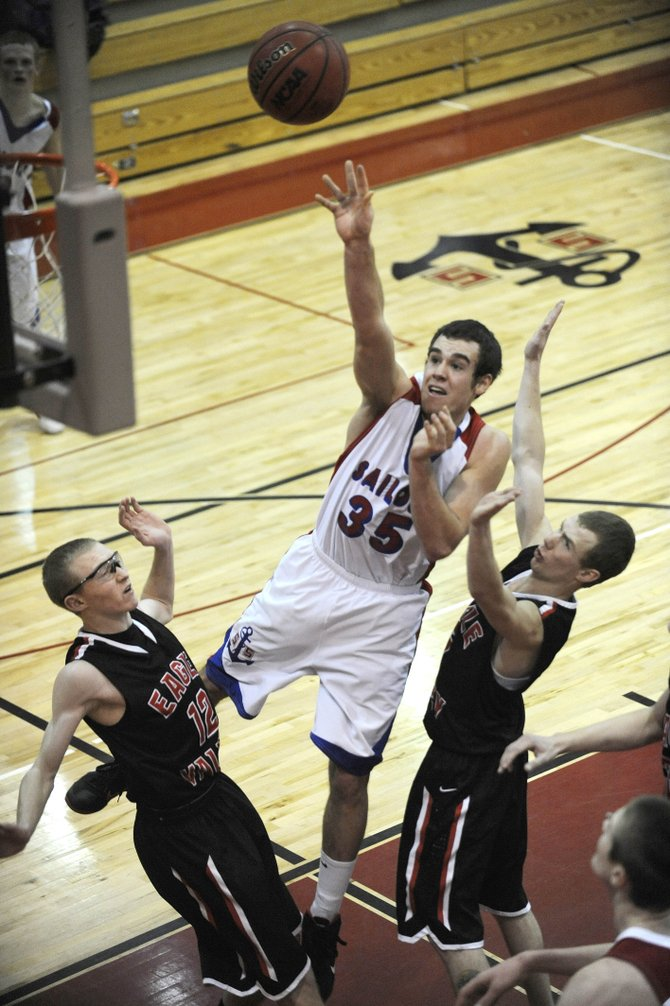 Steamboat Springs High School senior Eric Trousil puts up a shot during the first half of Saturday's game against Eagle Valley High School.