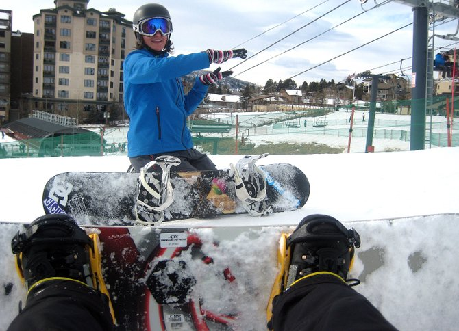 The process of learning snowboarding is the process of learning series of small steps. After one day in a group lesson, mostly spent with a magic carpet and a friendly pitch, we were close to being able to string turns together and get on the real mountain.