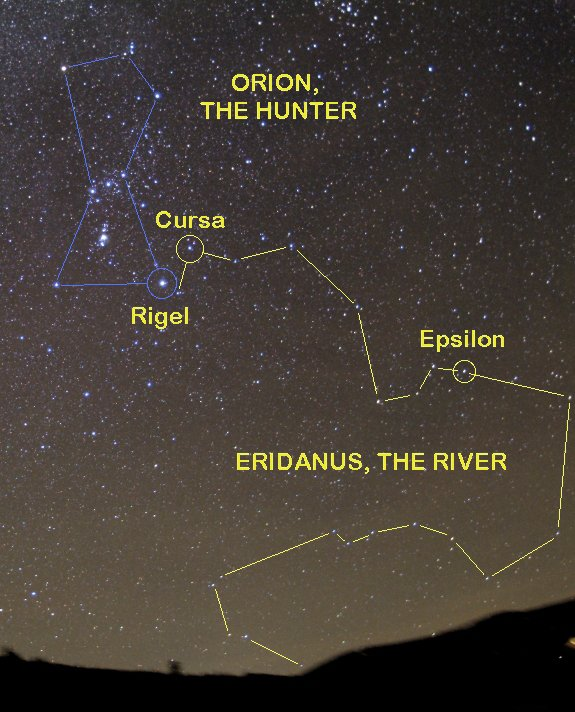 The meandering curves of Eridanus the River fill the sky west of Orion's familiar pattern. The star Epsilon Eridani is the closest twin of the sun to our solar system but is a much younger star than ours. Catch Eridanus in the early evening hours during February.