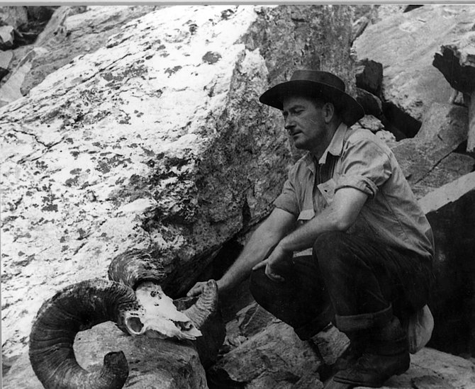 "This photograph of Rex Gill was taken in 1939 on a climb on Gilpin Peak. It's on display at the Tread of Pioneers Museum as part of the ""Rex Gill: The Man, the Mountains, the Desert"" exhibit."