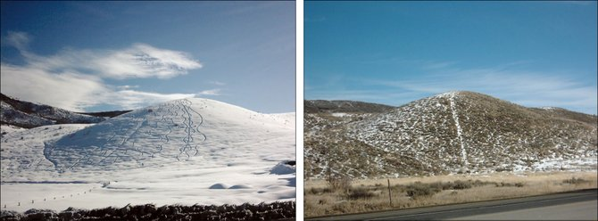 What a difference a year makes. A hill across from the Steamboat Pilot &amp; Today office is pictured in winter 2010-11, when some powder hounds made fresh tracks, and on Tuesday with a light dusting of snow.