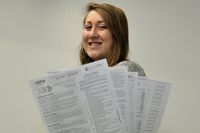 Morgan Knob, 17, a Moffat County High School senior, holds a form for the Free Application for Federal Student Aid, which all prospective college students must complete to apply for federal financial aid. Colorado Northwestern Community College's Craig campus, 2801 W. Ninth St., will host a free seminar to help students fill out the FAFSA from 1:30 to 3:30 p.m. today.