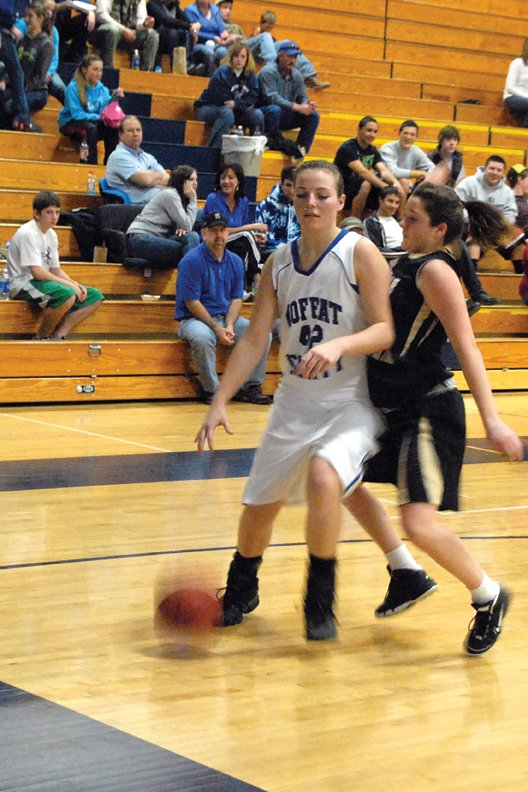 Annie Sadvar, a Moffat County High School senior, helped lead the Moffat County High School girls varsity basketball team to a 61-60 victory Friday at Delta High School. Sadvar scored 18 points and fellow senior Melissa Camilletti scored 27, including a game-winning lay-up at the buzzer.