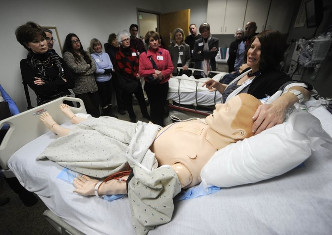 Yampa Valley Medical Center Staff Development Director Debra Harris demonstrates features of the new simulator lab Wednesday.