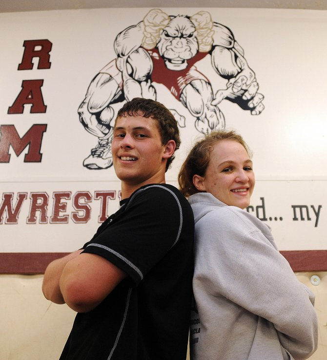 Tristan Palyo, left, and Lauryn Bruggink each have made state before. The Soroco seniors, the teams only qualified wrestlers this year, hope to improve upon their previous appearances.