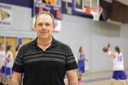 Coach Norm Yoast, MCHS freshman girls basketball coach and assistant varsity coach, stands in front of the Moffat County High School freshman girls basketball team on Thursday during practice.  Yoast recently filled in for varsity coach Matt Ray, guiding the team to two straight victories.