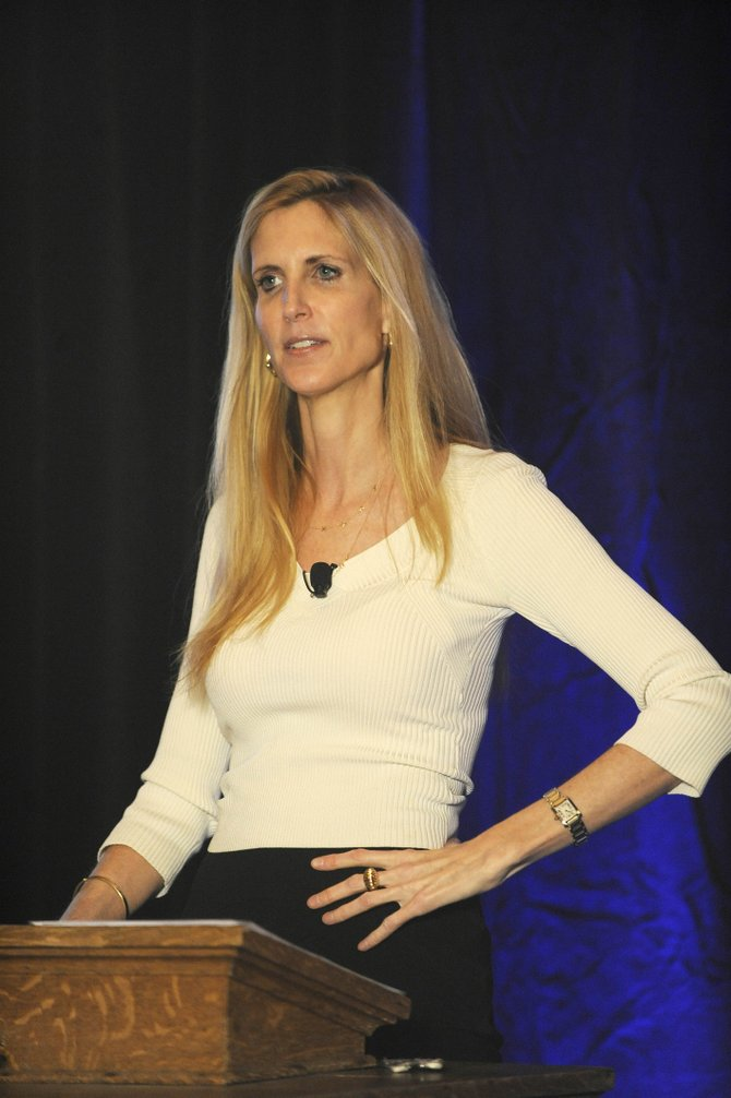 Conservative commentator and author Ann Coulter speaks during an event hosted by The Steamboat Institute on Friday night at the Thunderhead building.