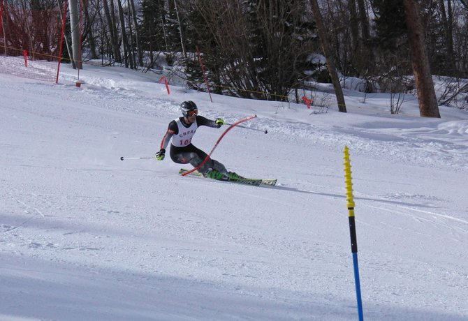 Steamboats Connor Bernard skis on his way to winning the slalom event at the Colorado High School State Ski Championships.