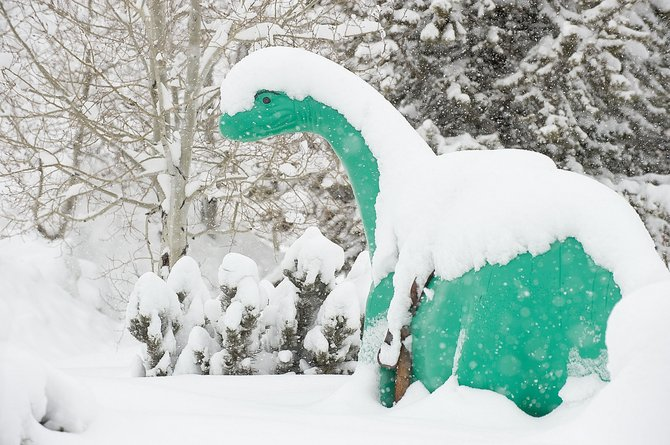 Steamboat was hit by a major winter storm that dropped temperatures and snow in the area — and on the dinosaur in front of the Western Convenience store on U.S. Highway 40 — but helped raise revenue for many local businesses.