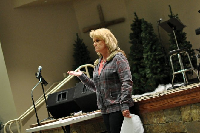 "Jeana Weber, of Craig, speaks to an audience of about 45 people Tuesday night at The Journey at First Baptist during ""Live for Levi,"" an event she organized to raise awareness about suicide. The event is named in memory of her son, Levi, who took his own life in September 2011, a little less than a year after her husband, Jim Weber, committed suicide on Christmas Day 2010."