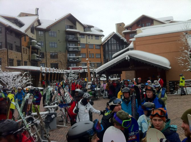 New snowfall attracted plenty of skiers and snowboarders to the First Tracks line for the gondola at Steamboat Ski Area on Wednesday. The line eventually stretched to One Steamboat Place.