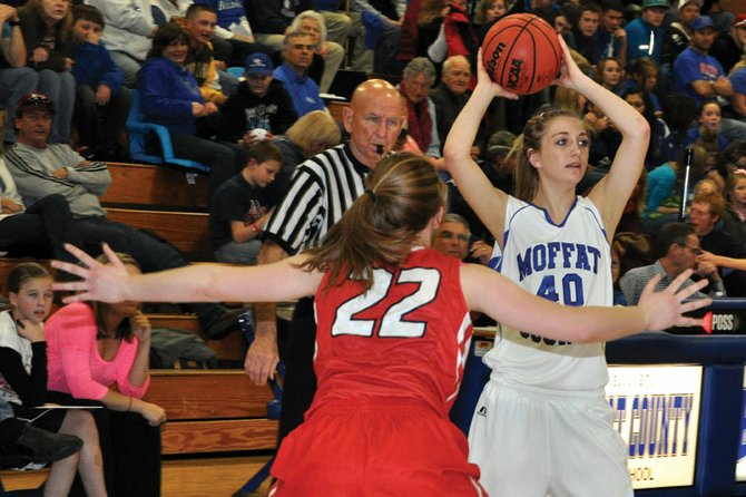 The Moffat County High School girls varsity basketball team takes on Thompson Valley at 5 p.m. today in the second round of the 4A state playoffs at Centaurus High School. Head coach Matt Ray said his players need to be patient on offense and look for the best available shot.