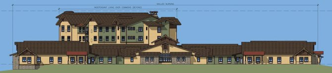 Pictured is the south exterior elevation of the Caseys Pond Senior Living community. Caseys Pond was envisioned to include a range of housing opportunities for older adults including skilled nursing accommodations, the valleys first memory care units, assisted living apartments and independent living apartments.