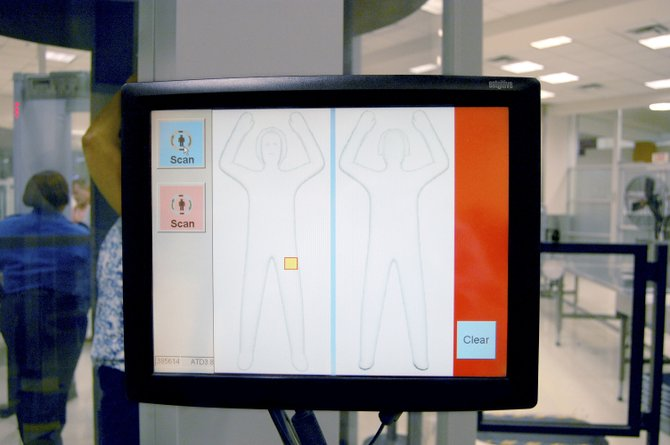 The new passenger screening machine at Yampa Valley Regional Airport uses a generic, computer-generated outline of a person, as opposed to the person's actual body features.