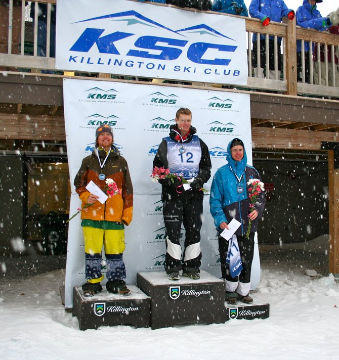Steamboat Springs Winter Sports Club skier Reed Snyderman, left, celebrates after finishing second at a freestyle moguls NorAm event in Killington, Vt. Snyderman finished second overall in the NorAm standings.