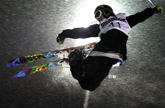 Griffin Sides soars through a snowstorm Thursday during the Big Air event at Howelsen Hill in Steamboat Springs. The second event in the five-event Steamboat Park Challenge circuit attracted more than 30 competitors.
